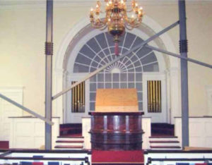 Church Interior with steel supports