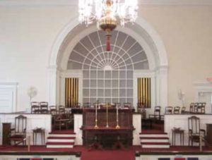 Church interior before ice damage weakened the structure