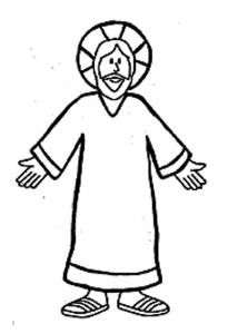 Flat Jesus Coloring Page